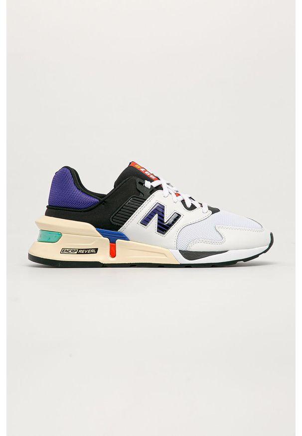 Białe sneakersy New Balance na sznurówki, z cholewką, z okrągłym noskiem