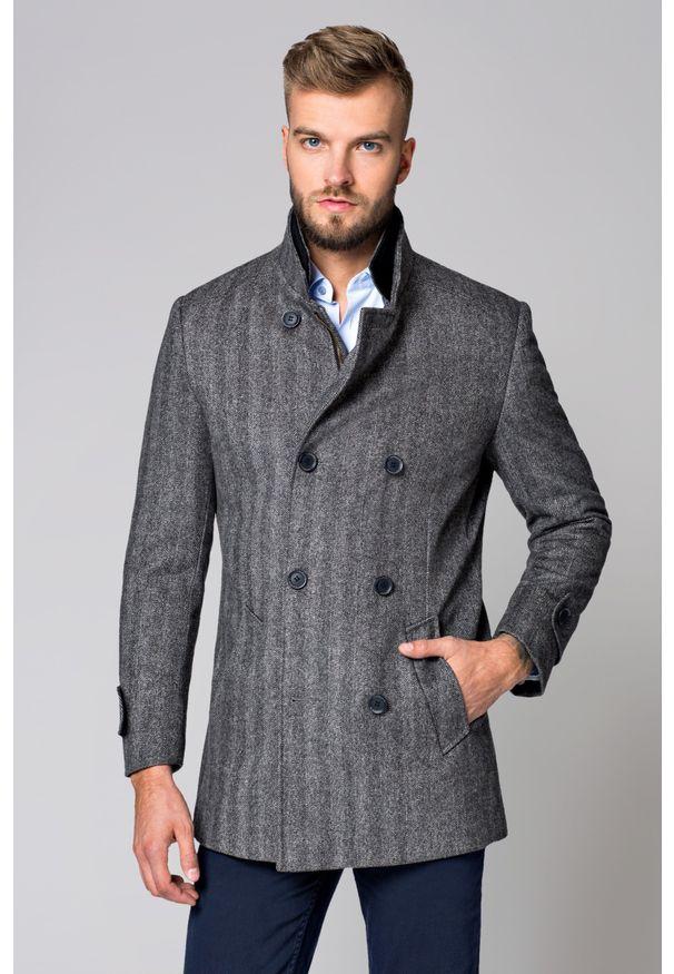 Szary płaszcz Lancerto jodełka