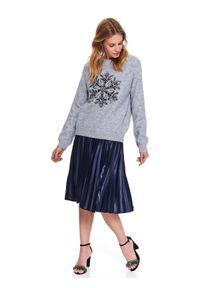 Szary sweter TOP SECRET z aplikacjami, z długim rękawem