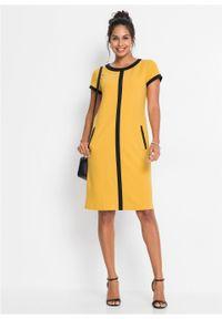Sukienka bonprix żółto-czarny. Kolor: złoty. Długość rękawa: krótki rękaw