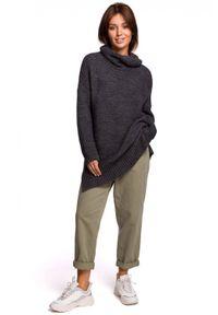 Sweter z długim rękawem, z golfem, długi
