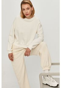 Biała bluza Answear Lab bez kaptura, gładkie, z długim rękawem, długa