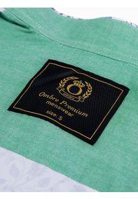 Ombre Clothing - Koszula męska z długim rękawem K491 - biała/zielona - XXL. Okazja: na co dzień, na spotkanie biznesowe. Typ kołnierza: kołnierzyk stójkowy, kołnierzyk kontrastowy, kołnierzyk klasyczny. Kolor: zielony. Materiał: elastan, tkanina, bawełna. Długość rękawa: długi rękaw. Długość: długie. Wzór: kwiaty. Styl: biznesowy, klasyczny, elegancki, casual
