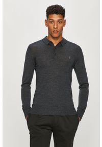 Szary sweter AllSaints krótki, polo, z aplikacjami, casualowy
