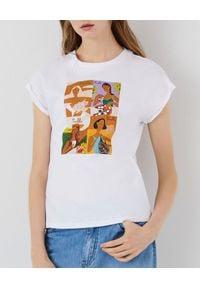 Marella - MARELLA - Biały t-shirt z nadrukiem Giulia. Okazja: na co dzień. Kolor: biały. Materiał: jeans, bawełna. Wzór: nadruk. Sezon: wiosna, lato. Styl: casual, klasyczny
