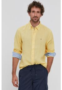 TOMMY HILFIGER - Tommy Hilfiger - Koszula. Typ kołnierza: button down. Kolor: żółty. Materiał: tkanina. Długość rękawa: długi rękaw. Długość: długie. Wzór: gładki