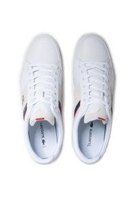 Lacoste - Sneakersy LACOSTE - Chaymon 0721 2 Cma 7-41CMA0048042 Wht/Nvy. Okazja: na co dzień. Kolor: biały. Materiał: zamsz. Szerokość cholewki: normalna. Styl: casual