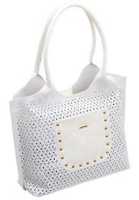 Biała torebka Monnari w ażurowe wzory, skórzana