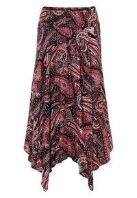 Spódnica z asymetryczną linią dołu bonprix czarno-malinowy paisley. Kolor: czarny. Długość: długie. Wzór: paisley #1