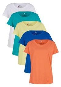 Shirt z okrągłym dekoltem (5 szt.), krótki rękaw bonprix łososiowy pomarańczowy + lazurowy + jasna limonka + szmaragdowy + biały. Kolor: pomarańczowy. Materiał: jersey. Długość rękawa: krótki rękaw. Długość: krótkie