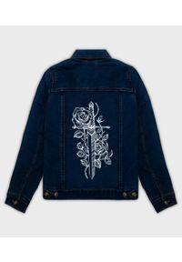 Kurtka jeansowa MegaKoszulki klasyczna, na wiosnę, z nadrukiem