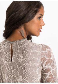 Beżowa sukienka bonprix w koronkowe wzory, elegancka