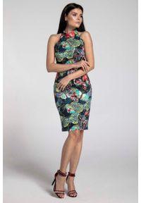 Niebieska sukienka Nommo bodycon, w kwiaty, elegancka
