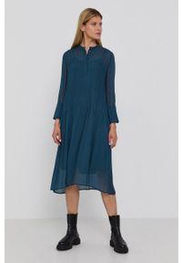 Samsoe & Samsoe - Samsoe Samsoe - Sukienka. Okazja: na co dzień. Kolor: zielony. Materiał: włókno, tkanina, materiał. Długość rękawa: długi rękaw. Wzór: gładki. Typ sukienki: proste. Styl: casual #4
