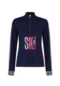 Niebieski sweter Newland z aplikacjami, z golfem
