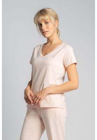 MOE - Bawełniana Koszulka do Spania z Krótkim Rękawem - Brzoskwiniowy. Kolor: pomarańczowy. Materiał: bawełna. Długość: krótkie