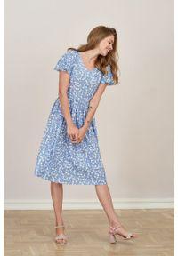 Marie Zélie - Sukienka Iris Melicit niebieska. Kolor: niebieski. Materiał: wiskoza, materiał. Typ sukienki: rozkloszowane