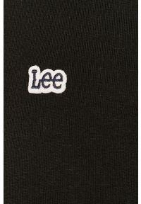 Czarna bluza rozpinana Lee na co dzień, z kapturem, z aplikacjami, casualowa