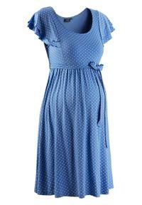 Sukienka shirtowa ciążowa bonprix błękitny w kropki. Kolekcja: moda ciążowa. Kolor: niebieski. Wzór: kropki