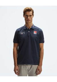 North Sails - NORTH SAILS - Granatowa koszulka polo Saint-Tropez. Typ kołnierza: polo. Kolor: niebieski. Materiał: materiał. Wzór: haft, aplikacja