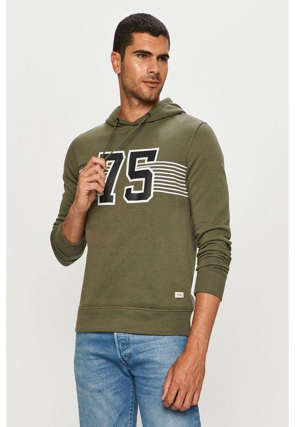 Zielona bluza nierozpinana PRODUKT by Jack & Jones na co dzień, z kapturem, casualowa, z nadrukiem