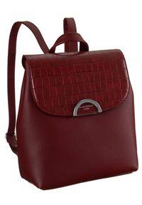 DAVID JONES - Plecak damski bordowy David Jones 6606-2A DARK RED. Kolor: czerwony. Materiał: skóra ekologiczna. Wzór: aplikacja. Styl: elegancki