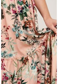 Marie Zélie - Spódnica Ruth Phlox łososiowy. Kolor: różowy. Materiał: wiskoza, skóra, materiał. Długość: długie. Sezon: lato