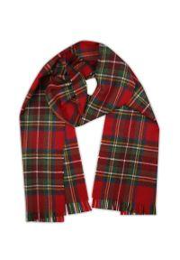 Czerwony szalik V. Fraas na zimę, elegancki, w kratkę