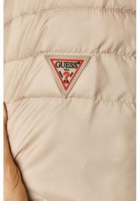 Kremowa kurtka Guess casualowa, na co dzień, z kapturem