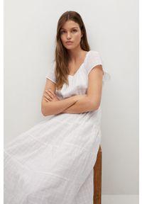mango - Mango - Sukienka LOLAZ. Kolor: biały. Materiał: tkanina. Długość rękawa: krótki rękaw. Typ sukienki: rozkloszowane