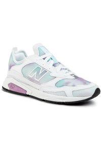 Białe półbuty New Balance z cholewką, w kolorowe wzory, eleganckie
