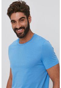 BOSS - Boss - T-shirt bawełniany. Okazja: na co dzień. Kolor: niebieski. Materiał: bawełna. Wzór: gładki. Styl: casual