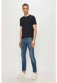 Niebieski t-shirt Tom Tailor na co dzień, gładki