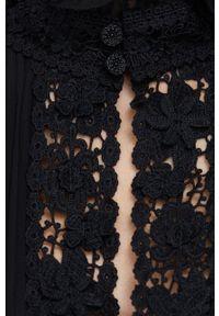 Polo Ralph Lauren - Sukienka. Typ kołnierza: polo. Kolor: czarny. Materiał: tkanina, koronka. Długość rękawa: długi rękaw. Wzór: gładki. Typ sukienki: plisowane, rozkloszowane