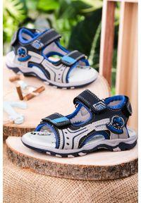 Casu - granatowe sandały na rzepy casu jf06. Zapięcie: rzepy. Kolor: niebieski