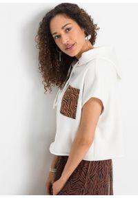 Bluza z kapturem bonprix biel wełny - brązowy kasztanowy w paski zebry. Typ kołnierza: kaptur. Kolor: biały. Materiał: wełna. Długość rękawa: krótki rękaw. Długość: krótkie. Wzór: motyw zwierzęcy, paski