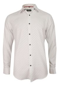 Biała elegancka koszula Bello w geometryczne wzory, długa, z długim rękawem, do pracy