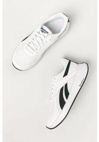 Białe buty sportowe Reebok do biegania, na obcasie, z cholewką, na niskim obcasie