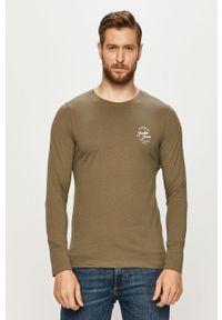 Oliwkowa koszulka z długim rękawem Jack & Jones z okrągłym kołnierzem, z nadrukiem, na co dzień