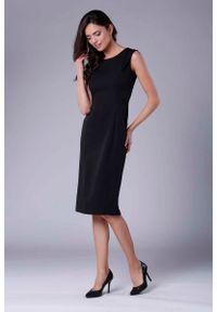 Nommo - Czarna Wizytowa Ołówkowa Sukienka z Zakładką na Ramionach. Kolor: czarny. Materiał: wiskoza, poliester. Typ sukienki: ołówkowe. Styl: wizytowy