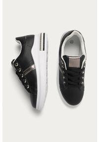 Czarne buty sportowe ANSWEAR z okrągłym noskiem, na średnim obcasie, na sznurówki, na obcasie