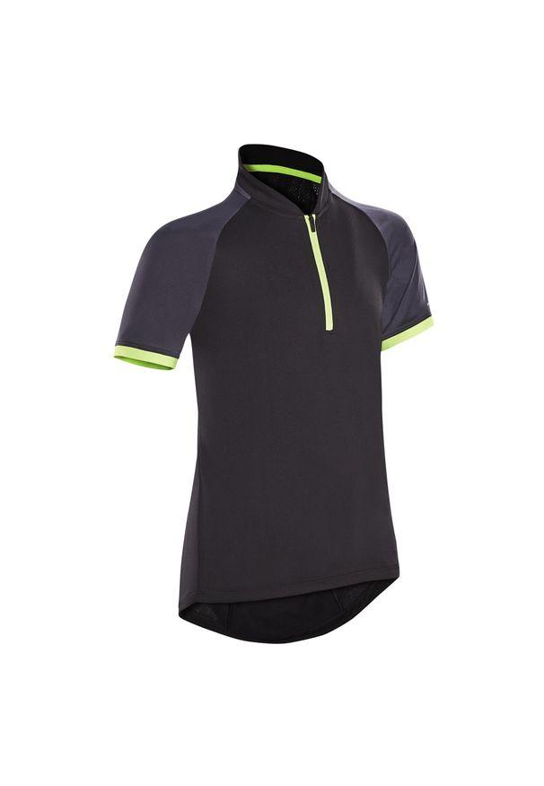 BTWIN - Koszulka rowerowa dziecięca Btwin 500. Kolor: czarny, wielokolorowy, szary, niebieski. Materiał: poliester, materiał. Długość: krótkie. Sport: kolarstwo