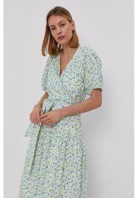 Y.A.S - Sukienka. Kolor: niebieski. Materiał: bawełna, tkanina. Typ sukienki: rozkloszowane