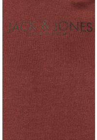 Brązowa bluza nierozpinana Premium by Jack&Jones z kapturem, na co dzień