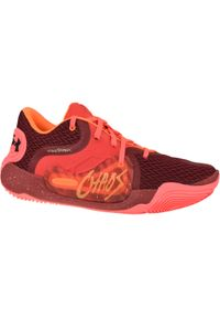 Czerwone buty do koszykówki Under Armour w kolorowe wzory, z cholewką