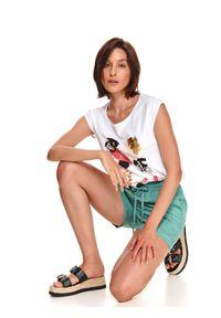 DRYWASH - T-shirt damski z krótkim rękawkiem i kolorowym nadrukiem. Okazja: do pracy. Kolor: biały. Materiał: tkanina, bawełna. Długość rękawa: krótki rękaw. Długość: krótkie. Wzór: nadruk, kolorowy. Sezon: lato. Styl: wakacyjny