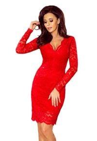 Numoco - Czerwona Koronkowa Sukienka Koktajlowa. Kolor: czerwony. Materiał: koronka. Styl: wizytowy