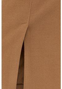 BOSS - Boss - Spódnica. Stan: podwyższony. Kolor: beżowy. Materiał: tkanina, dzianina. Wzór: gładki