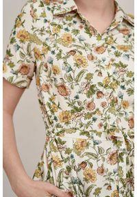 Marie Zélie - Sukienka Marina Sonata kremowa. Kolor: kremowy. Materiał: bawełna, wiskoza, materiał. Sezon: lato. Typ sukienki: szmizjerki