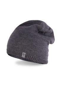 Zimowa czapka męska PaMaMi - Ciemnoszary. Kolor: szary. Materiał: akryl. Wzór: ze splotem, gładki. Sezon: zima